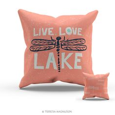 Dragonfly Pillow Live Love Lake Coral Navy by SunnyandClear