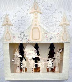 Fine Art Diorama Shadow Box Paper Sculpture - Mini Theatre Tiny Puppets - Fairy Godmother Forest - Dark Fairytale. $250.00, via Etsy.