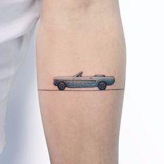 Tiny car tattoo by Ahmet Cambaz Car Tattoos, Cover Up Tattoos, Body Art Tattoos, Cute Tiny Tattoos, Small Tattoos, Tattoos For Guys, Piercing Tattoo, Mustang Tattoo, Tattoos Geometric