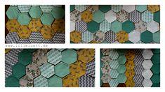 Verschiedene Kombinationen von Hexies.  #decke #patchwork #babydecke #nähen #nähenfürkindern #nähenmachtglücklich #epp #englischpaperpiecing #quilten #lilleluett #nähenfürbabys #handnähen #elefanten #wolf #türkis #grau #gelb #hexies #hexagon