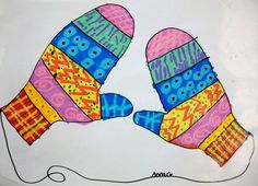Patterned mittens: use with the book Mitten Tree for classroom lesson on kindness