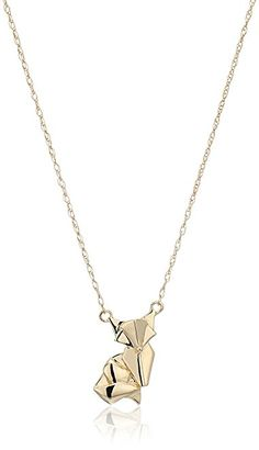 Amazon.com: 14k Yellow Gold OrigaMe Fox Necklace <3 <3