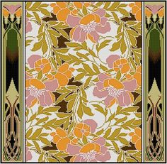 Pink and Orange Floral Design cross stitch pattern / Rene Beauclair / Arts and Crafts period / Antique Textile Pattern by Whoopicat