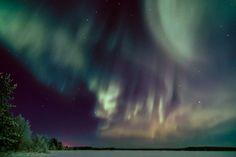 Aurora over Lake Ounasjärvi