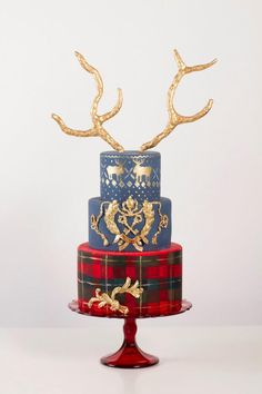 21 Drop-Dead Gorgeous Winter Wedding Cakes - Tartan and deers wedding cake By Nadia & Co. // see 15 inspiring Winter Wedding Cakes on www. Cupcakes, Cupcake Cakes, Wedding Cake Designs, Wedding Cakes, Tartan Wedding, Gold Wedding, Purple Wedding, Wedding Rings, Tartan Christmas