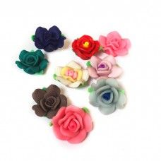 Polymer Clay Roses 20x9mm - Pack of 10 - These would look fab on a hairslide, tiara or brooch!