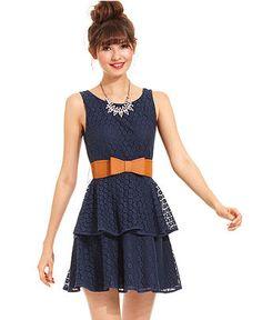 City Studios Juniors Dress, Sleeveless Tiered Eyelet - Juniors Dresses - Macys, $19.99