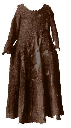 "Medieval Garments ~ Herjolfsnes ~ In 1921, a large number of graves were excavated in the burial ground of the old Norse colony of Herjolfsnes (""Herjolf's Point"") in Greenland. The repaired gown from Herjolfsnes with find nr. 38. A long-sleeved dress made from a ""four-shaft twill of medium stoutness"" with a black warp and a brown weft. The garment was used to cover the body of a small woman (4'6""-4'8""), aged 25-30, based on analysis of her bones."