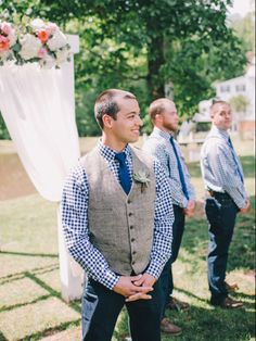 Gingham dress shirts, matching skinny ties, and dark jeans, chinos, or khakis. I don't like the vest in this case.