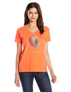 Life is good Women's Crusher Wander Sandals T-Shirt, Coral Orange,Small. Slight waist shape. Rib at the neck and Self-fabric taping from shoulder to shoulder. The Life is good company donates 10% of all sales to kids in need.
