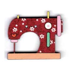 Botón decorativo de madera con forma de máquina de coser.  Medida: 3.5 x 3 cm.