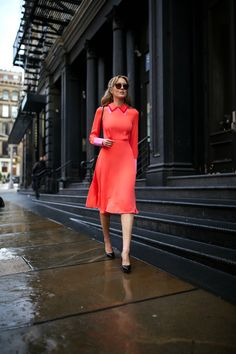 Coral Midi Dress and Floral Coat   MEMORANDUM   NYC Fashion & Lifestyle Blog for the Working Girl