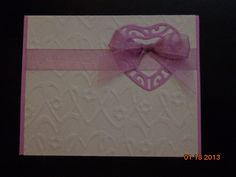 White Embossed Background with Lavender Filigree Heart and Sheer Ribbon