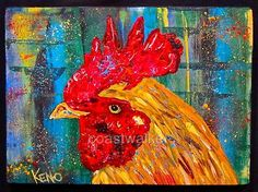 Red Rooster Bird Chicken Maine Abstract Folk Art Outsider Coastwalker