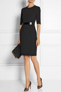 Black stretch-cady Concealed hook and zip fastenings at back 64% rayon, 32% acetate, 4% elastane; belt: 40% polyester, 40% metal, 20% elastane; lining: 60% rayon, 40% polyester Dry clean