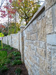 rock walls used for a fence | Masonry Fence Design Ideas, Pictures, Remodel, and Decor