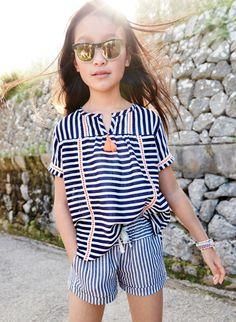 J.Crew girls stripe gauze tunic top, stripe pull-on short, and sunnies sunglasses.