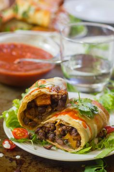 Crunchy on the outside, soft and spicy on the inside, these black bean and butternut squash chimichangas are a deliciously satisfying fall meal. Packed with flavor, totally vegan, and perfect for your next Mexican-inspired dinner! Vegan Mexican Recipes, Delicious Vegan Recipes, Healthy Dinner Recipes, Vegetarian Recipes, Cooking Recipes, Vegetarian Mexican, Mexican Meals, Bean Recipes, Bon Appetit
