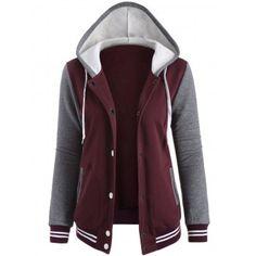 Contrast Sleeve Fleece Baseball Hoodie Jacket - Wine Red M Mobile Hoodie Sweatshirts, Fleece Hoodie, Purple Jacket, Hooded Jacket, Sleeves, Polyvore, Clothes, Baseball Jackets, Outerwear Jackets