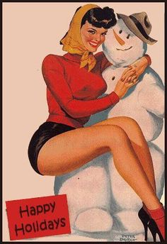 pin up with snow man