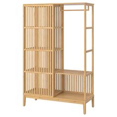 Buy IKEA NORDKISA Open Wardrobe With Sliding Door Bamboo. This wardrobe combines the clean lines of Scandinavian furniture design with the look and feel of the orient. Storage for your clothes and belongings as well as a statement piece in your Bamboo Furniture, Bedroom Furniture, Furniture Design, Furniture Market, Sliding Wardrobe Doors, Sliding Doors, Ikea Open Wardrobe, Wardrobe Shelving, Barn Doors