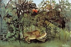 Painting by Henri Rousseau Hungry Lion