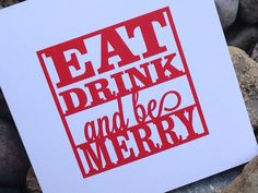 Christmas Card, Holiday Card Set, Personalized Christmas Cards - Eat Drink and be Merry on Etsy, $10.00 #christmascards #holidaycards #modernchristmascards