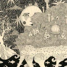 Toda mulher é mística, assim de cara, toda mulher é em si um milagre, toda a natureza, alguma coisa de mágica que não se explica assim, com uma palavra qualquer. Mas a artista ucraniana Daria Hlazatova explica em ilustrações, pontinho por pontinho, traço a traço, a realeza, a grandeza e a imensidão que toda mulher tem e é. São desenhos feitos de forma simples, com lápis, borracha e caneta, mas complexos, como signos secretos, como um tarot particular de cartas poderosas, com deusas…