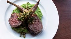 Rack of Lamb with Hazelnut Gremolata and Pea Purée Recipe adapted from Geoffrey Zakarian and Jamie DeRosa, Tudor House, Miami, FL Pureed Food Recipes, Lamb Recipes, Chef Recipes, Great Recipes, Cooking Recipes, Favorite Recipes, Love Food, A Food, Food And Drink