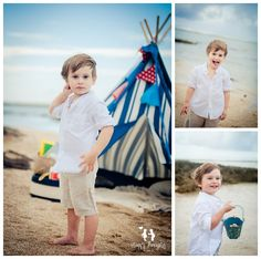 boy having fun at the beach with a teepee