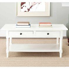 Safavieh Boris 2 Drawer Coffee Table, Multiple Colors, White
