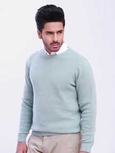 Green Round Neck Textured Jumper