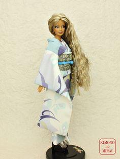 Japanese KIMONO dress,Barbie,Poppy Parker,FR NIPPON White Furisode,Obi,fashion #KIMONOnoMIRAI