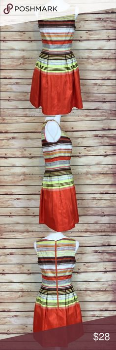Taylor Orange Yellow Striped Sleeveless Dress Striped sleeveless fit and flare dress by Taylor Dresses. Orange, yellow, brown, white, and gray/silver. Dress has a sheen to it. Exposed gold zipper in the back. Size 6. Excellent preowned condition, no flaws. Taylor Dresses Dresses