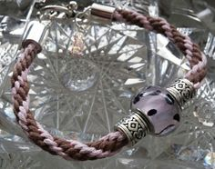 Kumihimo Bracelet  Pink & Brown with Pink by goosecrossingfarm, $16.00