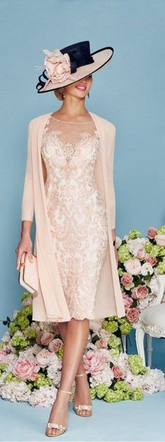 This Light Pink Chiffon Lace Mother of the Bride Dress is fitted and has astonishing detailing throughout. An absolutely stunning embellished dress and matching jacket in Blush/Ivory. You'll get a gorgeous matching frock coat made from chiffon with mid-length sleeves with this mother of the groom dress (or bridesmaids dress, prom dress). || More at http://www.cutedresses.co/product/light-pink-chiffon-lace-mother-bride-dress/