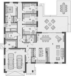 Haus Bungalow Chalet Projekt Domena 116 B - koszt budowy - EXTRADOM How to choose contempo 2 Bedroom House Plans, Dream House Plans, House Floor Plans, House Construction Plan, Home Design Floor Plans, Bungalow House Design, Story House, House Layouts, Luxury Apartments