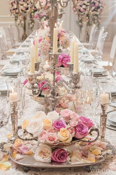 Love This Victorian Esque Table Scape Overflowing With Roses And Candles