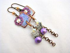 Butterfly Charm Dangle Earrings by Janet Wilson of ChickieGirlCreations on Etsy