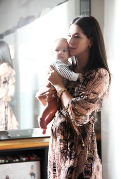 At home with designer Rebecca Minkoff & baby Luca. Gorgeous photo of mom & baby.