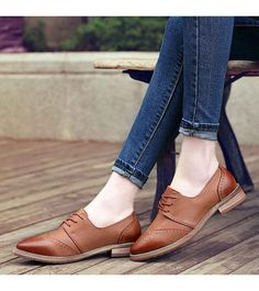 Women's #brown leather retro Brogue lace up #DressShoes, sewing thread design, Point toe, casual, leisure, business, work occasions.