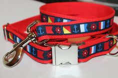Nautical Dog Collar and Leash Set 1 wide by cinchbelts on Etsy
