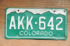 Colorado License Plate Number AKK642    #RockyMountains #VintageColorado #GreenAndWhite #ColoradoAkk642 #CoLicensePlate #AKK642 #ColoLicensePlate #CoPlateAkk642 #VintageCoPlate #LicensePlate