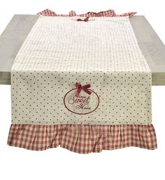 FABRIC TABLE RUNNER IN RED_WHITE COLOR 40Χ140