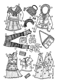 Karen`s Paper Dolls: Simone 1-6 Paper Doll to Colour. Påklædningsdukke Simone 1-6 til at farvelægge.
