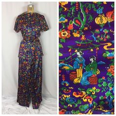 Vintage Japanese Garden Scene Print Belted Top and Wide Leg Pants Set. Small  | eBay