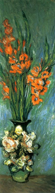 Claude Monet - Gladiolus  Such strong, colors. Wow.