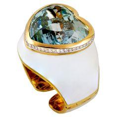 David Webb 18kt. Yellow Gold Diamond, White Enamel & Heart Shape Aquamrine Cuff Bracelet.