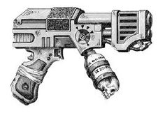 Hand flamer - Necromunda - Warhammer 40K - GW Anime Weapons, Weapons Guns, Rogue Traders, Black Order, Warhammer 40k Art, Tyranids, Space Pirate, Mini Me, Fan Gear