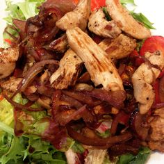 Fried chicken with stired onion and lettuce salad. Enjoy guys